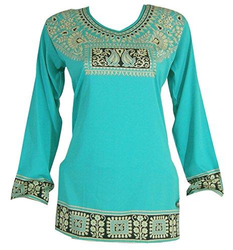 Indische Tunika Top Womens Kurti gedruckte Lange Ärmel Bluse Indien Kleidung (Kurti Shirt Tunika)