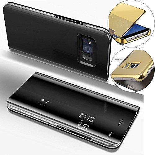 a8f91abc12c COTDINFOR Samsung S8 + Funda Espejo Ultra Slim Ligero Flip Funda Clear View  Standing Cover Mirror
