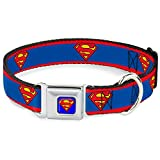 Buckle Down 22,9–38,1 cm Superman Shield/Streifen rot/blau Hund Halsband