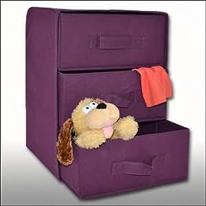 Boîte de rangement Violet 3 tiroirs en tissu