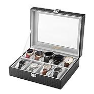Elegante vetrina di tutti i neri per mostrare i tuoi orologi Questa scatola di visualizzazione dell'orologio presenta un'estetica estremamente fatta di pelle nera di coccodrillo e un ampio vetro visivo sulla parte superiore. L'interno è reali...