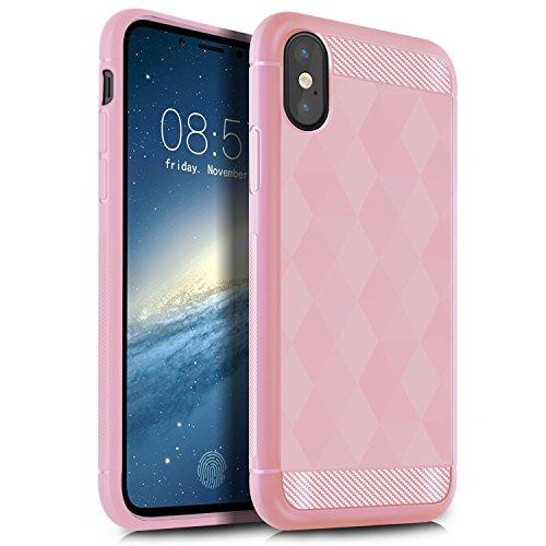 iPhone X Hülle, KuGi Ultra thin Cover Case Kasten Case für Apple iPhone X Smartphone (Schwarz) Rosa