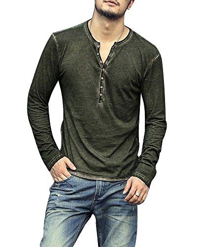 Minetom Herren T-Shirt mit V-Ausschnitt Kontrast 100% Baumwolle Casual Cardigan Grün Large (Schlitten Mit Pom)