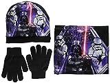 Disney Star Wars Empire Set Sciarpa, Guanti e Cappello, Nero (Black), XS (Taglia Produttore:52) Bambino