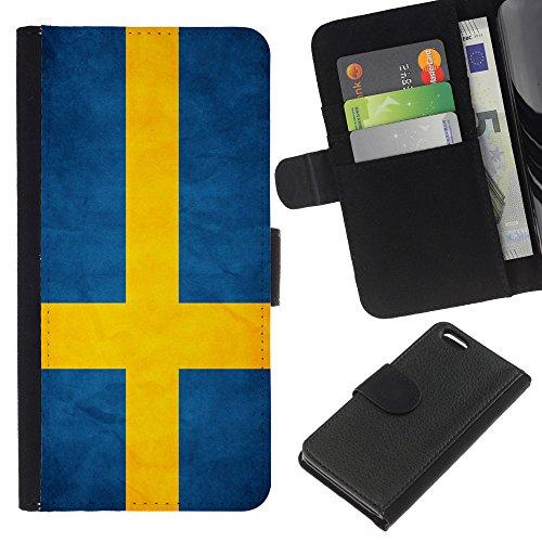Graphic4You Vintage Uralt Flagge Von Slowakei Slowakisch Design Brieftasche Leder Hülle Case Schutzhülle für Apple iPhone 5C Schweden Schwedisch