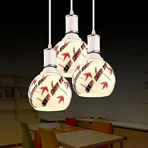 DIDIDD Kronleuchter-moderne einfache Mode führte Garten drei Kopf Keramik Kronleuchter Wohnzimmer Schlafzimmer Restaurant Kronleuchter (Form optional) - Innenbeleuchtung Kronleuchter,Disc-3 Kopf