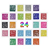 Ink Pads, HLZDH Multi Colour Rainbow Crafts Finger Stamp Ink pads Print Pad Non-Toxic for Kids DIY Scrapbooking, Rubber Art, Wedding Decoration , Craft Stamps and Card Making Decoration (24 Colors a Set)