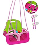 alles-meine.de GmbH Babyschaukel / Gitterschaukel - mitwachsend & umbaubar - mit Gurt -  Rosa / P..