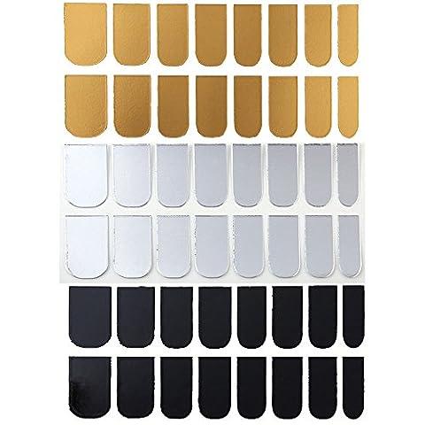 VALUE MAKERS 3 Blatt-Nagel-Kunst-Polnisch-Metallic Folien-Aufkleber Gold, Silber, schwarz