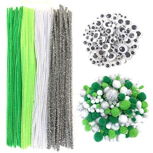 DOITEM Pfeifenreiniger Pluesch Mini Pompons mit Kulleraugen für DIY Handwerk Dekorationen, Grün und weiß , 500 Stück