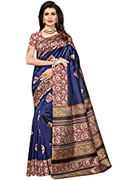 Varayu Women's Floral Printed Poly Silk Saree With Unstitched Blouse Piece
