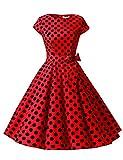 Dressystar Damen Vintage 51er Cap Sleeves Dot Einfarbig Rockabilly Swing Kleider Rot Schwarz Dot B XL