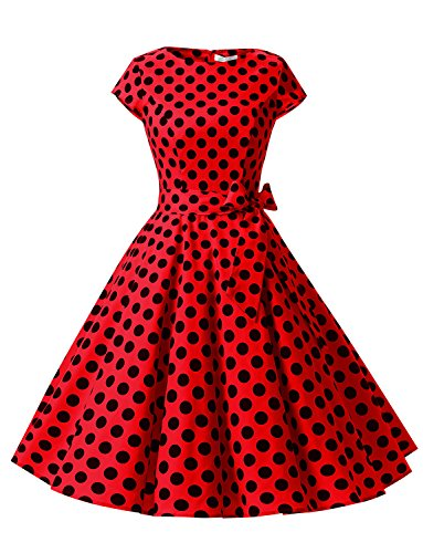 Dressystar Damen Vintage 50er Cap Sleeves Dot Einfarbig Rockabilly Swing Kleider Rot Schwarz Dot B S (Sleeve Shirt Cap Damen)