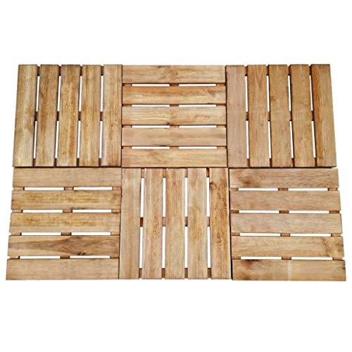 Festnight- 8er Set Terrassenfliesen Braun Holz 50 x 50 cm, Holz Fliese Balkonfliese aus impr?gniertes Kiefernholz, für Garten Terrasse oder Balkon -