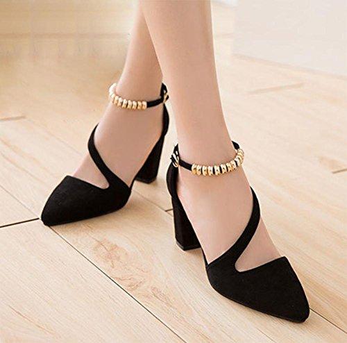 Sommer Sandalen Schnalle Miss Gao Gen Sandalen rau mit spitzen Schuhen Black