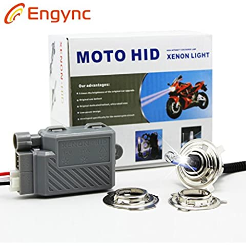 Kit HID Engync® wireless motocicletta del motociclo Xenon All in One H4 H6 P15D Hi / Low Light luce di colore blu (12000K)