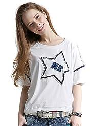 Keno camiseta mujer de verano - 95% algodón - estrella - T shirt - Tamaño libre