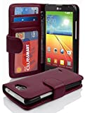 Cadorabo Hülle für LG L70 Hülle in Handyhülle mit 3 Kartenfächern Case Cover Schutzhülle Etui Tasche Book Klapp Style Bordeaux Lila