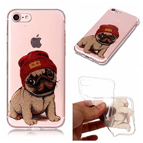 Cozy Hut iPhone 7 / iPhone 8 Hülle, Bling Glänzend Glitzer Klar Durchsichtige TPU Silikon Hülle Handyhülle Tasche Back Cover Schutzhülle für iPhone 7 / iPhone 8 - Hündchen