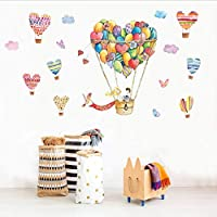 ylckady Cartoon Heart Shape Hot Air Balloon Wall Sticker for Lovers Couples for Living Room Valentine