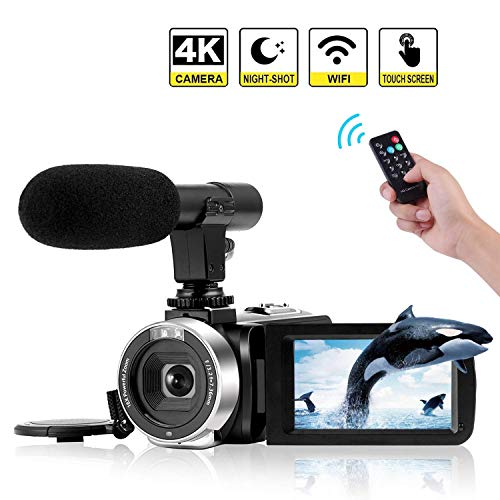 Videocámara 4K Cámara de Video WiFi Videocamara con micrófono Full HD 1080P 30FPS Cámara Vlog de Pantalla Táctil de 3'HD para Youtube con Visión Nocturna por Infrarrojos y Control Remoto