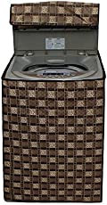 Stylista Washing Machine Cover for Samsung 6.2 kg Fully-Automatic Top Load WA62M4200HA/TL, Traditional Checkered Pattern Brown