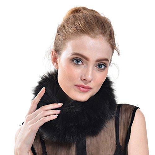 Ollebobo vera pelliccia volpe sciarpa fazzoletto donna calda elegante sforzosa nero