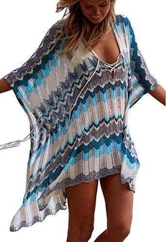 ZIYYOOHY Damen Strandponcho Gestrickte Kaftan Strandkleid Crochet Spitze Bikini Cover Up (One Size ( S-L ), 7016 Dunkelblau)