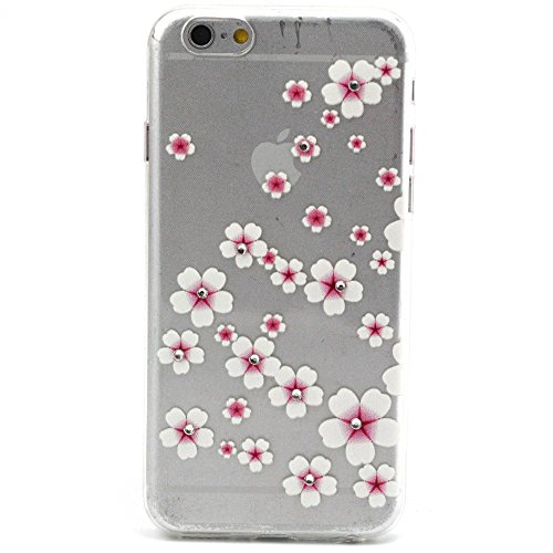 iPhone 5s 5 Hülle,iPhone 5s 5 Case [Scratch-Resistant] , ISAKEN iPhone 5s 5 Ultra Slim Perfect Fit Einzigartige Ozean Meer Design Niedliche Cartoon Malerei TPU Clear Transparent Protective back Hülle  Strass Rosa Weiß Flower Floral
