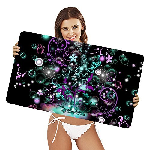 XtremePads [ Große XXL Gaming-Maus-Pad / Mat Schreibtischunterlage ] - ( Artistic Abstract Teal Purple Stars Floral )
