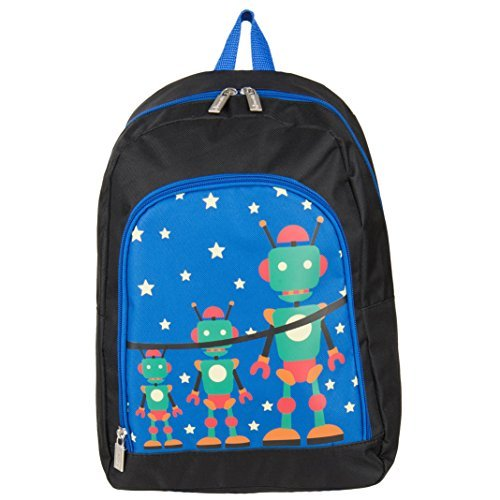 Light-Weight Cute Robot Design Kid's Play Backpack School Bag Fits GPX Portable DVD Players