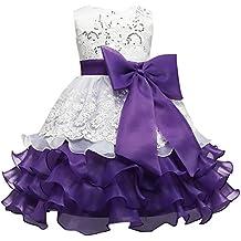 Myosotis510 - Vestido - trapecio - Floral - Sin mangas - para niña