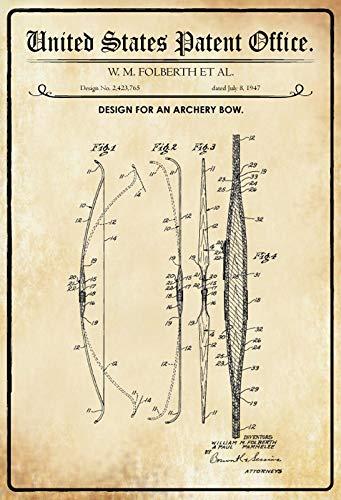 Blechschild 30 x 20 cm U.S. Patent Office. - Design for an Archery Bow (W.M. Folberth) 1947 - Deko7 -
