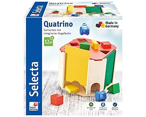 Selecta 62015 Quatrino, Sortier und Steckspiel mit Innerer Kugelbahn aus Holz, 20 cm