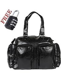 XENSA Genuine LEATHERite Stylish Large Travel Tote Oversized DUFFLE Luggage Bag 65 LTR-Black-#Shetty Group … - B07CKWYC7F