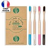 Charles Germain Cosmetics - Cepillo de dientes de bambú, madera - Lote de 4 - Cepillo de dientes biodegradable, de bambú ecológico