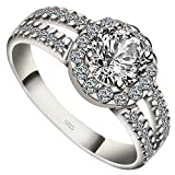 Meixao Ladies 925 Sterling Silver Cubic Zircon Luxury Wedding Engagement Bridal Ring