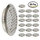 Lüftungsgitter mit Belüftungslöchern aus Edelstahl, 53 mm Bodendurchmesser, für Küche, Schränke, 20 Stück