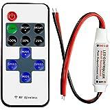 LitaElek Regulador monocromático de la tira del LED con el telecontrol alejado sin hilos de la CC 5-24V mini regulador del regulador de la cinta del LED 12A para 2 pernos SMD 5050 3528 2835 5630 solo color luces de tira del LED