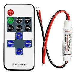 LitaElek Monochrome LED Streifen Controller mit RF Wireless Remote DC 5-24V 12A Mini LED Band Dimmer Controller für 2 polig SMD 5050 3528 2835 5630 einzigen Farbe LED Strip