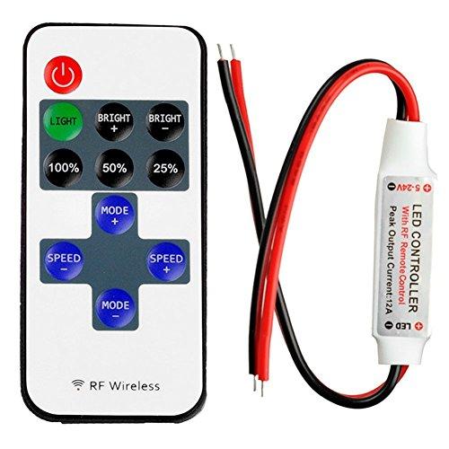 confronta il prezzo LitaElek Monocromatico controllore striscia a LED con RF Wireless Mini DC 5-24V 12A remoto LED nastro controllore dimmer per 2 pin SMD 5050 3528 2835 5630 luci di striscia singolo colore LED miglior prezzo