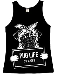 Black Pug Life Ladies Vest Top Mugshot Dog Puppie Funny Pug Love Gift