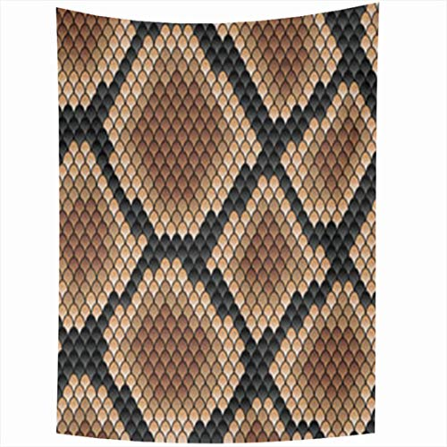 Alfreen Tapisserie-Dekor, Wall Hanging Tapestries 50 x 60 Inches Snakeskin Pattern Showing Scale Detail Geometric Diamond Formation Shades Brown Gallery Tapestry for Home Bedroom Living Room Dorm Snakeskin Tier