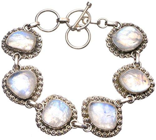 925er Sterling Silber Moonstone Einzigartig Handgefertigt Armbänder 19,05cm Numerous Colors U2288