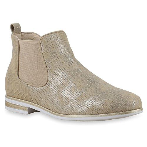 Damen Stiefeletten Chelsea Boots Glitzer Metallic Schuhe Gold