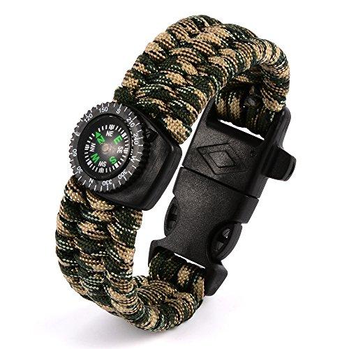 XCSOURCE braccialetto di Paracord, Sahara Sailor Outdoor Kit di sopravvivenza del cavo dei paracadute Fibbia bussola Flint avviamento di fuoco del raschietto Whistle Camouflage OS573 - Borsa Piccola Corda Borsa