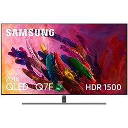 """Samsung QLED 2018 55Q7FN - Smart TV Plano DE 55"""", 4K UHD Resolución, HDR 1500, Control One Remote, One Connect + Cable Invisible, Versión Española, Color Plata"""