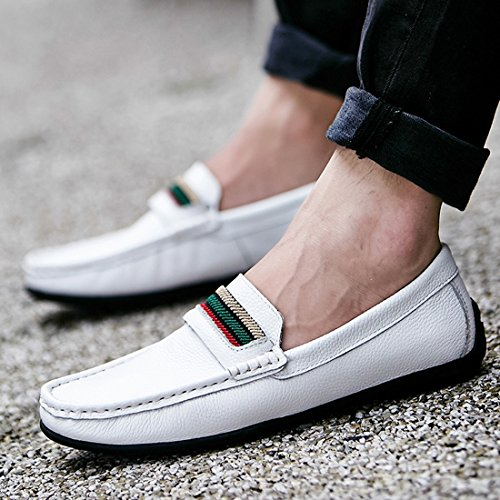 Minitoo Boys Mens Colorful Stripe Stitched Casual Penny Loafers White