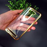 """D-kandy Side Gold Electro Plated Soft Transparent TPU Silicon Back Cover Case For Asus zenfone 2 laser ze550kl 5.5"""""""