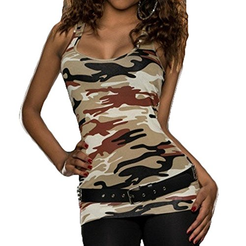 junkai Fitness Tees Estate Sexy Backless Camouflage Shirt Donna Magliette Blusas Vest Shirts Caffè